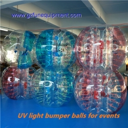 Glowing bumper ball / bubble zorbs in dark light