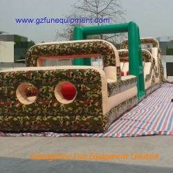 camouflage bouncer inflatable obstacle course for adults