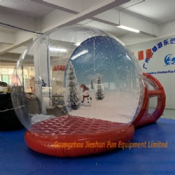 Customized design inflatable snow globe with tunnel for Christmas decoration